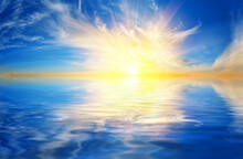 Yellow Setting Sun Over Blue W...