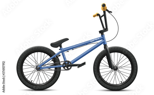 Photo Blue BMX bicycle mockup - right side view