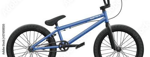 Blue BMX bicycle mockup - right side close-up Wallpaper Mural