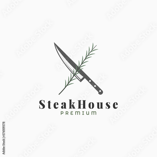 Fotografie, Obraz Steak logo with knife and rosemary on white