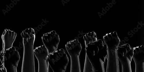 Fotografering Black fists on black background with rim