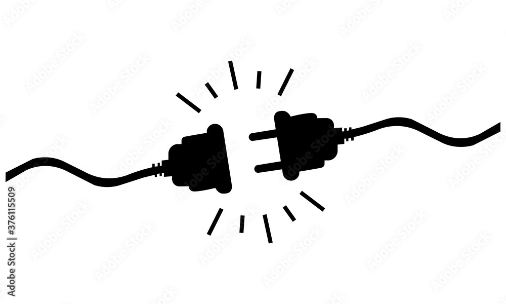 Fototapeta Icon of black disconnected wires. Vector illustration eps 10