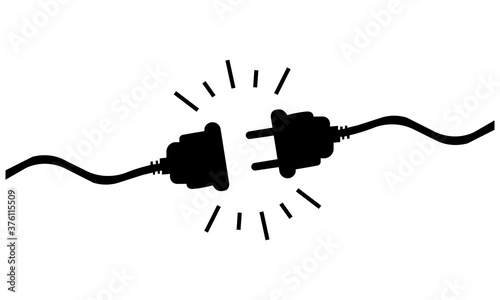Fotografiet Icon of black disconnected wires. Vector illustration eps 10
