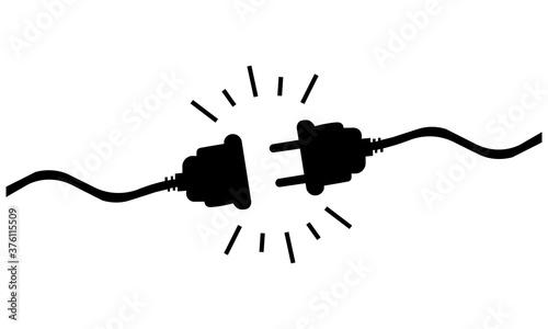 Fototapeta Icon of black disconnected wires. Vector illustration eps 10 obraz