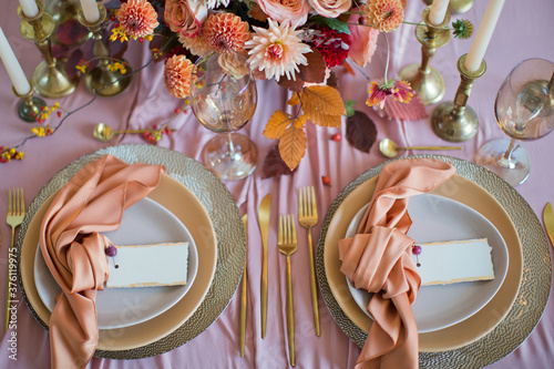 Canvas Print Beautiful table setting with flowers