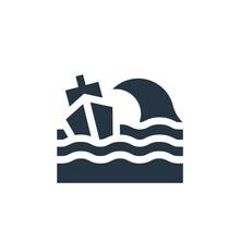 Shipwreck Icon. Glyph Shipwrec...