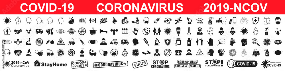 Fototapeta Set corona virus icons infographic. Concept with symptoms and protective antivirus icons related to coronavirus, 2019-nCoV, COVID-19 – vector