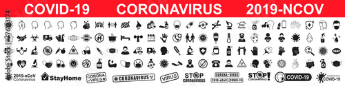 Foto Set corona virus icons infographic