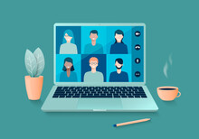 Online Video Conference Or Distance Learning, Working At Home With A Laptop. Vector Illustration.