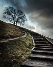 Wooden Steps Leading Up A Hill...