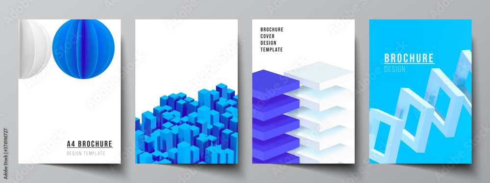 Fototapeta Vector layout of A4 cover mockups templates for brochure, flyer layout, booklet, cover design, book design. 3d render vector composition with dynamic realistic geometric blue shapes in motion.