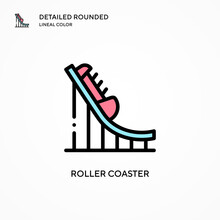 Roller Coaster Vector Icon. Mo...