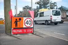 Australia Victoria Road Sign. Speed Limit 40, Prepare To Stop. Traffic Control.