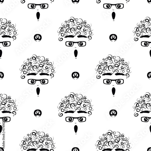 Fotografija curly-headed boy (stupefied) seamless repeat pattern in next-level black and whi