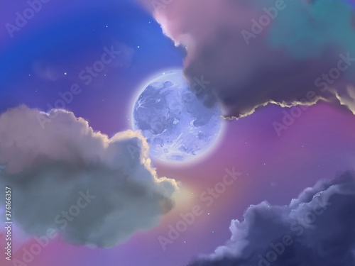 Fotografiet landscape of beautiful clouds and bluely full moon