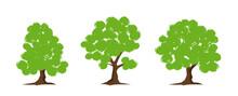 Green Tree Set, Vector Illustr...