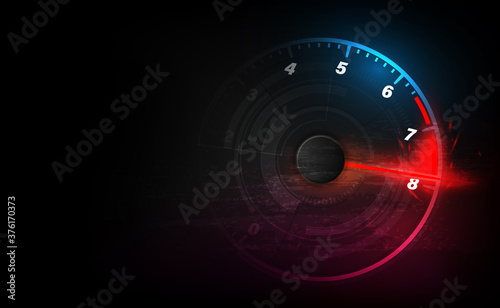 Fotografiet Speed motion background with fast speedometer car