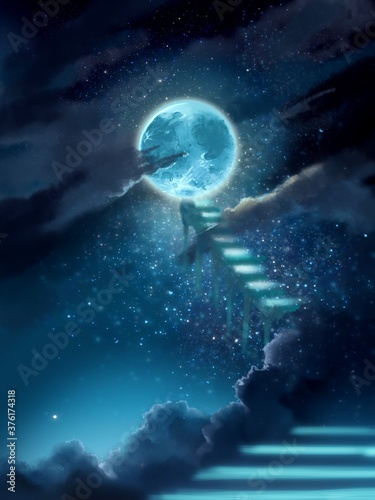 transparent stairs to bluely full moon in starry space Fototapet