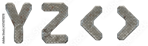 Cuadros en Lienzo Set of capital letters Y, Z and symbol left and right angle bracket made of industrial metal isolated on white background