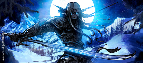 Fotografía A handsome elf warrior with two curved blades stands against the backdrop of a huge winter moon, ready for battle, his eyes glowing with blue magical light