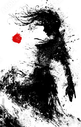 The black silhouette of a sinister vampinar woman, in a torn dress, stands in profile and bares her sharp teeth Fotobehang
