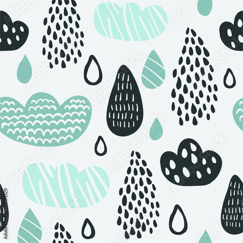 Foto Cute vector seamless pattern with sky, rain drops, clouds isolated on light