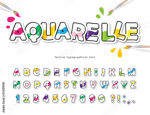 Cartoon colorful font for kids Wallpaper Mural