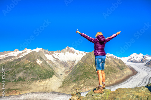 Hiking in Swiss Alps, Canton of Valais, Europe Fototapete