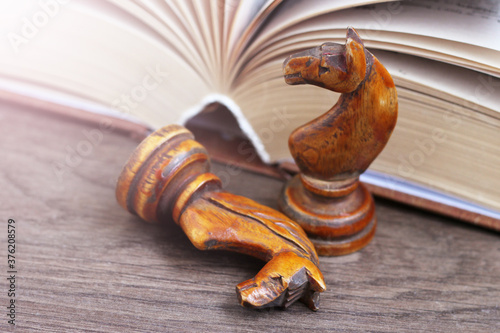 Two wooden horses chess and a book, old and retro object Wallpaper Mural