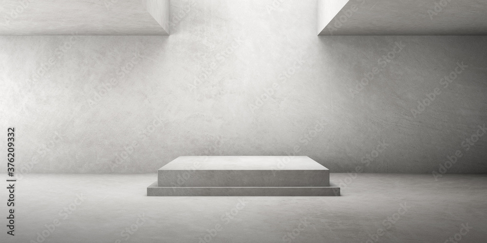 Fototapeta 3d render of empty concrete room with shadow on the wall.