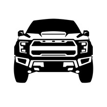 Truck Offroad Black Silhouette, Front View, Vector