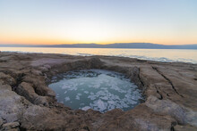 A Sinkhole That Opened In The Ground Next To The Dead Sea Israel, Sunrise