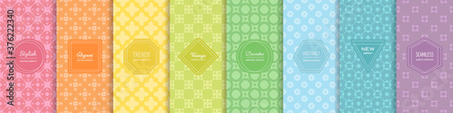 Rainbow vector geometric seamless patterns collection. Set of bright colorful backgrounds with elegant minimal labels. Cute abstract floral textures. Simple pattern design for babies, kids, decoration