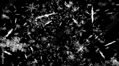 Fototapeta Snow Flake Crystals winter freeze ice holiday particle 3D illustration backgroun