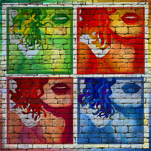 Valokuvatapetti Street art, pop art, gros plan sur une partie du visage d'une femme en quatre ta