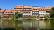 Historische Wohnhäuser am Fluss Regniz in Bamberg
