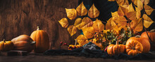 Thanksgiving Pumpkins Cinnamon And Pine Cones On Rustic Wooden Table Background - Autumn Thanksgiving Or Harvest Festival Concept