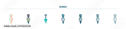 Photo kunai icon designed in gradient, filled, two color, thin line and outline style