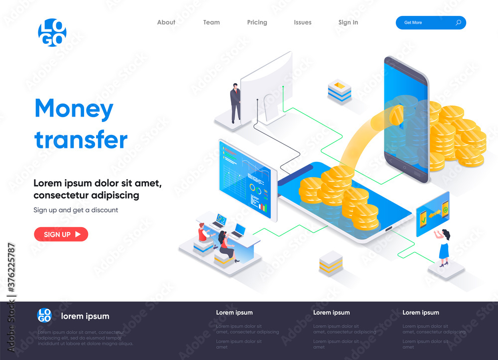 Fototapeta Money transfer isometric landing page. Internet banking mobile application isometry concept. Online money transaction and payment service flat web page. Vector illustration with people characters.