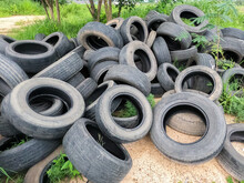 Old Tires That Were Left Together In A Pile