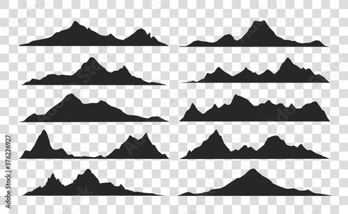 Mountains landscape silhouette set Billede på lærred