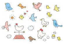 手描きのゆるい鳥イラスト(カラー)