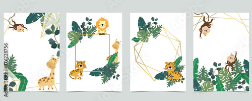 Green collection of safari background set with monkey,leopard,giraffe Canvas