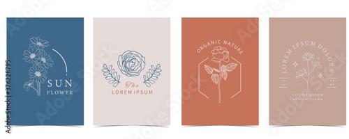 Valokuvatapetti Collection of flower background set with flower, rose,shape