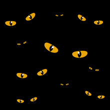 Glowing Eyes In The Pitch Darkness Seamless Vector Pattern. Halloween Banner Background.