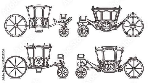 Photo Wedding carriage set, outline retro royal chariot