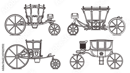 Outline set of dormeuse chariot or royal carriage Canvas Print