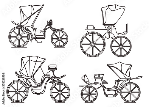 Outline carriages of XIX century. French chariot in line Wallpaper Mural