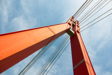 Red Metal Bridge Tower With St...