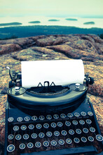 Vintage Typewriter With Ocean ...